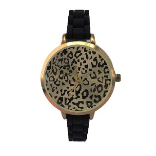 Womens Animal Print Jumbo Dial Watch Black Silicone Band Goldtone Case