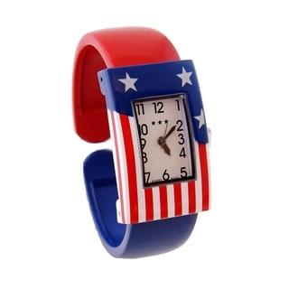 Womens American Flag Cuff Watch Rectangular Easy Read Dial