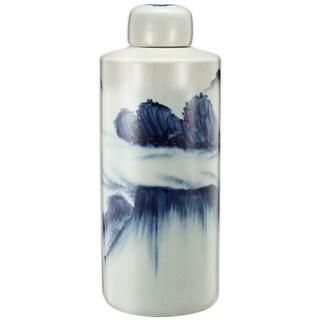 White/Blue Ceramic Large Windswept-patterned Lidded Accent Jar