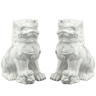 White Ceramic Guardian Lion Bookends (Set of 2)