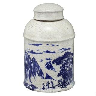 White/Blue Ceramic Lidded Jar