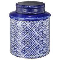 Blue and White Ceramic Large Lidded Jar