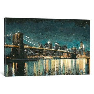 iCanvas Bright City Lights II (Teal) by James Wiens Canvas Print