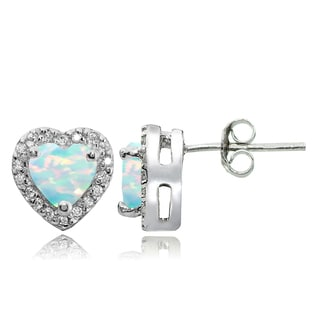 Glitzy Rocks Sterling Silver Birthstone and White Topaz Heart Stud Earrings