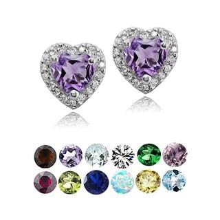 Glitzy Rocks Sterling Silver Birthstone and White Topaz Heart Stud Earrings