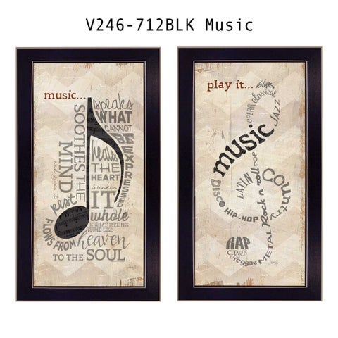"""Music"" Collection By Marla Rae, Printed Wall Art, Ready To Hang Framed Poster, Black Frame"