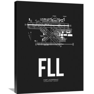 Naxart Studio 'FLL Fort Lauderdale Airport Black' Stretched Canvas Wall Art