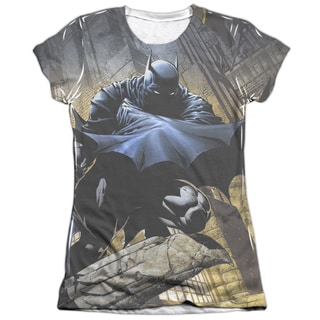 Batman/In Shadow (Front/Back Print) Short Sleeve Junior Poly/Cotton Crew in White