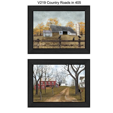 """""""Country Roads"""" Collection By Billy Jacobs, Ready to Hang Framed Wall Art, Black Frame"""