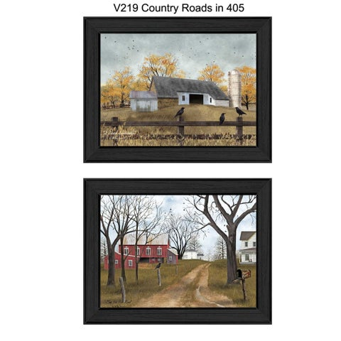 """Country Roads"" Collection By Billy Jacobs, Printed Wall Art, Ready To Hang Framed Poster, Black Frame"
