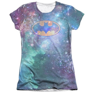 Batman/Galaxy Symbol (Front/Back Print) Short Sleeve Junior Poly/Cotton Crew in White