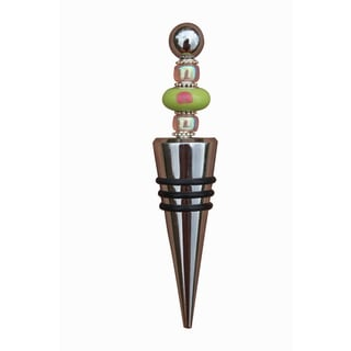 Beadwork By Julie Lime Green and Pink Glass Wine Bottle Stopper