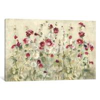 Maison Rouge 'Hollyhocks Row Cool' by Cheri Blum Canvas Print