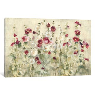 iCanvas Hollyhocks Row Cool by Cheri Blum Canvas Print