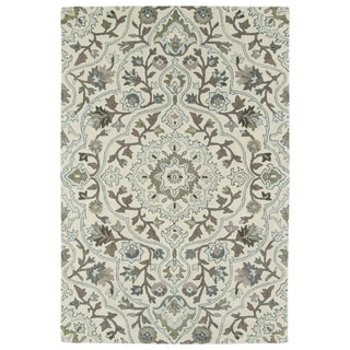 """Hand-Tufted Perry Medallion Beige Wool Rug (5'0 x 7'9"""")"""
