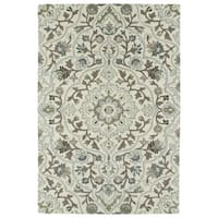 Hand-Tufted Perry Medallion Beige Wool Rug - 5' x 7'9
