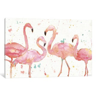 iCanvas Flamingo Fever I by Anne Tavoletti Canvas Print