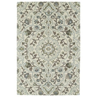 Hand-Tufted Perry Medallion Beige Wool Rug (8'0 x 10'0) - 8' x 10'