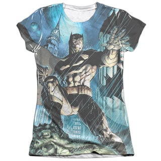 Batman/Rainy Rooftop (Front/Back Print) Short Sleeve Junior Poly/Cotton Crew in White