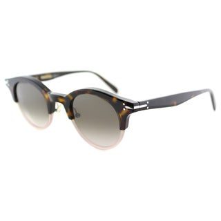 Celine CL 41395 T7B Dark Havana Plastic Round Brown Gradient Lens Sunglasses