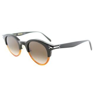 Celine CL 41395 T75 Green And Havana Plastic Round Brown Lens Sunglasses