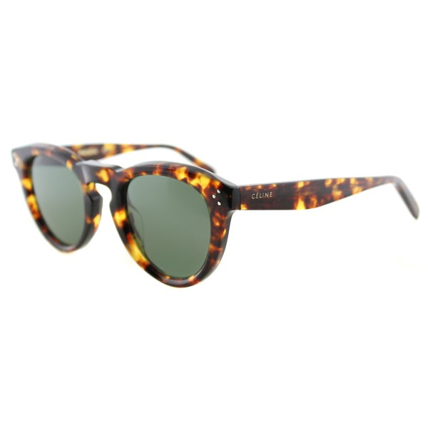 d8023c4e2ce6 Celine CL 41384 F E88 Blonde Tortoise Plastic Round Grey Green Lens  Sunglasses