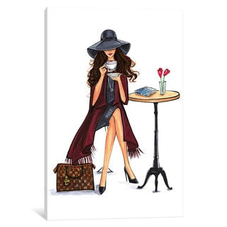 iCanvas Lady Latte (Brunette) by Rongrong DeVoe Canvas Print