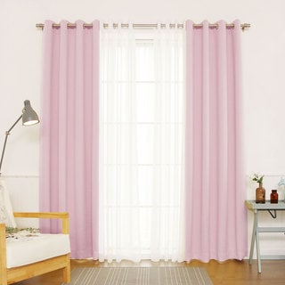 Aurora Home Mix & Match Blackout with Muji Sheer 4-piece Grommet Curtain Set - 52 x 84