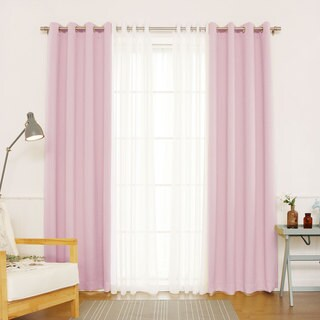 "Aurora Home Mix & Match Blackout and Muji Sheer 4 Piece Curtain Panel Set - 52""W x 84""L"