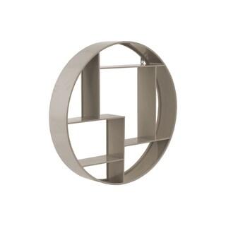 Taupe Metal 7-slot Round Wall Shelf