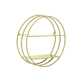 Urban Trends Collection Champagne Coated Metal Frame Design 2 Tiers and 2 Keyhole Hangers Round Wall Shelf