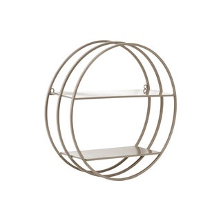 Taupe Metal Frame Design 2-tier Round Wall Shelf