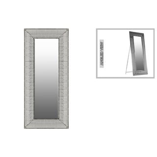 Urban Trends Collection Metallic Silver Metal Rectangular Floor Mirror with Lattice Design and Easel Stand