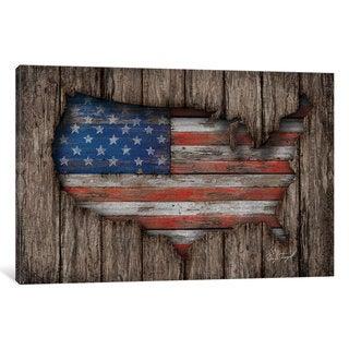 iCanvas American Wood Flag by Diego Tirigall Canvas Print