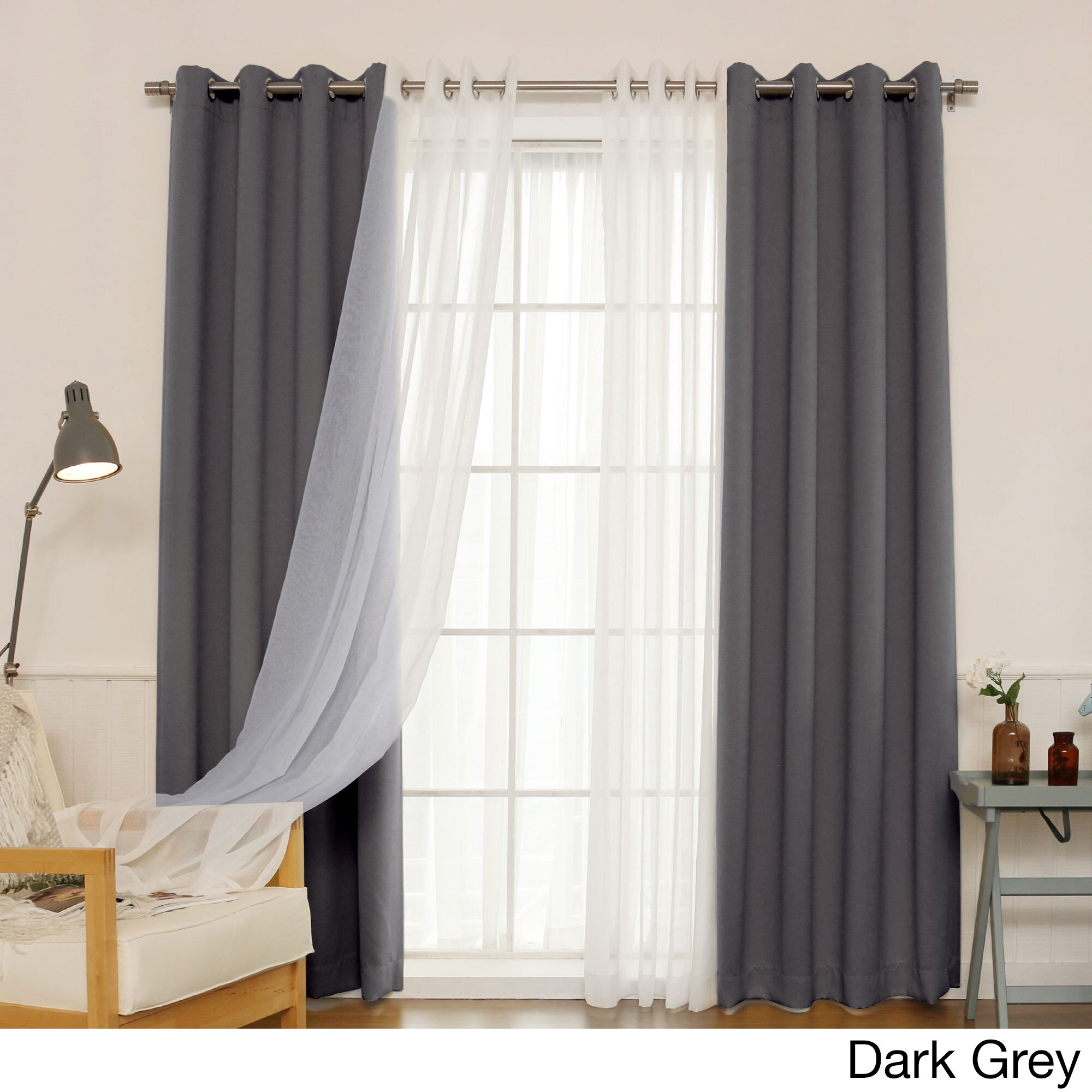 Aurora home mix amp match curtains blackout and muji sheer 84 inch silver grommet ebay