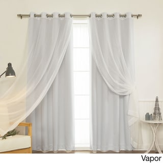 Aurora Home MIX & MATCH CURTAINS Blackout and Muji Sheer 84-inch Silver Grommet 4-piece Curtain Panel Pair