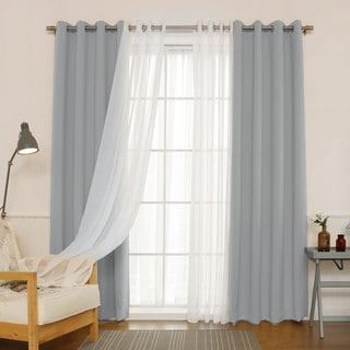 Aurora Home MIX & MATCH CURTAINS Blackout and Muji Sheer 84-inch Silver Grommet 4-piece Curtain Panel Pair - 52 x 84