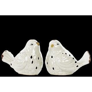 White Gloss Distressed Porcelain Bird Figurine (Set of 2)