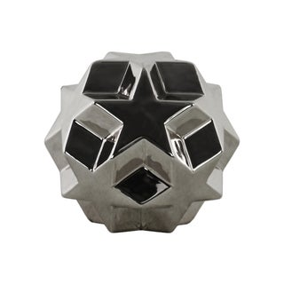 Urban Trends Collection Polished Chrome Silver Stoneware Star Ball Figurine
