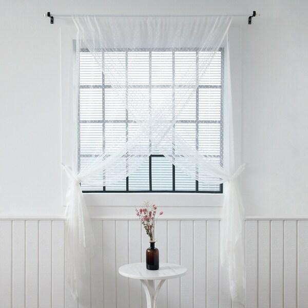 Aurora Home Sheer Overlap White 51 Inch X 84 Curtain Panel