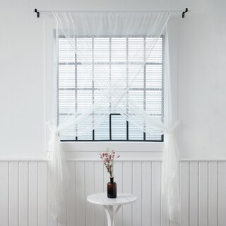 Aurora Home Sheer Overlap White 51-inch x 84-inch Curtain Panel