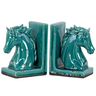 UTC11150-AST: Stoneware Horse Head on Base Bookend Assortment of Two Distressed Gloss Finish Turquoise