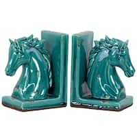 UTC11150-AST: Stoneware Horse Head on Base Bookend Assortment of Two Gloss Finish Turquoise