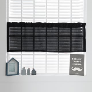 Aurora Home Black/Blue/Grey Polyester 52-inch x 18-inch Faux Silk Valance