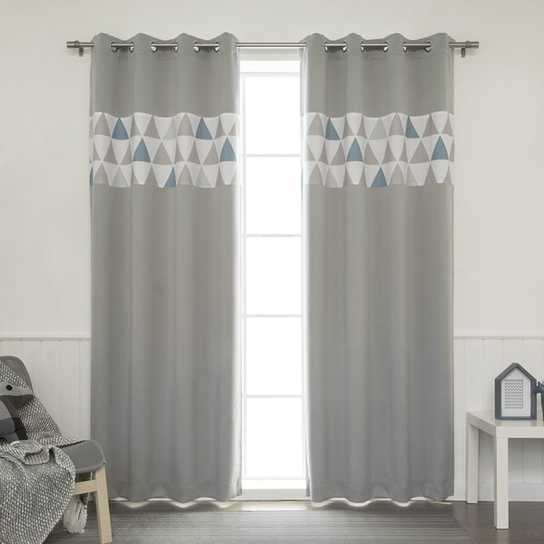 Aurora Home Nordic Triangle Banded Grommet Top Curtain