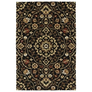 Hand-Tufted Perry Medallion Black Wool Rug (3'0 x 5'0)