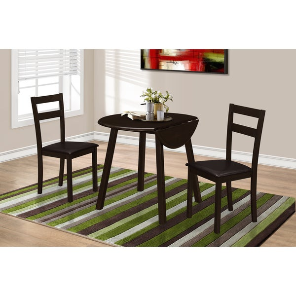 Monarch Casual Cuccino 3 Piece Dining Set With 36 Inch Round Drop Leaf