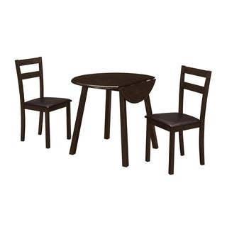 Monarch Casual Cappuccino 3-piece Dining Set With 36-inch Round Drop-leaf Table and Two Chairs