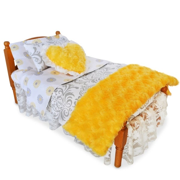 AnnLoren American Girl Grey, White, Yellow Cotton Print 7-piece Doll Bedding Set