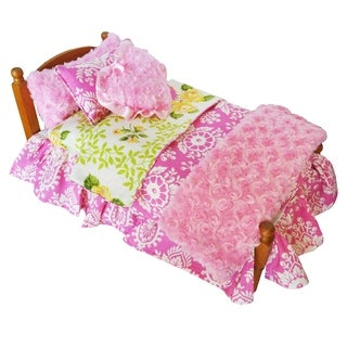 AnnLoren Green/Pink/Yellow/White Cotton/Polyester Damask and Bird Doll Bedding for American Girl (Pack of 7)